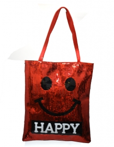 Fun Smily Face  Faux Leather Tote Bag HB017 38743 Red