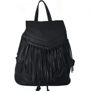 Faux Leather Fringe Backpack Purse 182PU 38762 Black