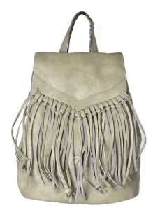 Faux Leather Fringe Backpack Purse 182PU 38762 Grey