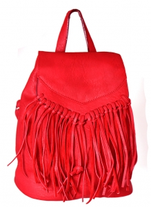 Faux Leather Fringe Backpack Purse 182PU 38762 Red
