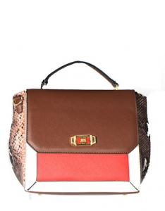 Animal Skin Print Handbag T1727 38779 Coffee