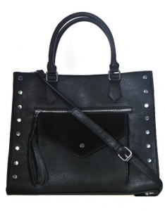 Faux  Leather Front Pocket Tote Bag Stud BGW56425 38788 Black
