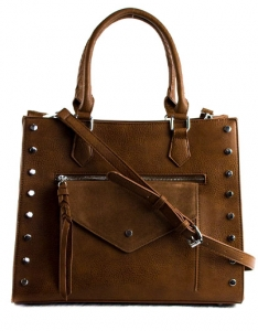 Faux  Leather Front Pocket Tote Bag Stud BGW56425 38788 Tan