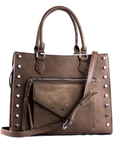 Faux  Leather Front Pocket Tote Bag Stud BGW56425 38788 Taupe