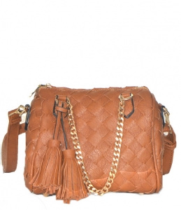 Woven Faux leather Messenger Shoulder Bag BGW8685 38791 Tan