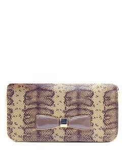 Faux Leather Snake Skin Bow AB-300W 38804 Beige