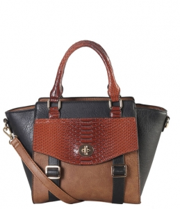Faux Leather 2-tone Front Pocket Snake Skin Pattern Flap and Buckle Top Handle Tote Bag PS3375 38827 Black