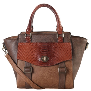 Faux Leather 2-tone Front Pocket Snake Skin Pattern Flap and Buckle Top Handle Tote Bag PS3375 38827 coffee