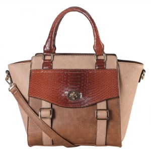 Faux Leather 2-tone Front Pocket Snake Skin Pattern Flap and Buckle Top Handle Tote Bag PS3375 38827 Taupe
