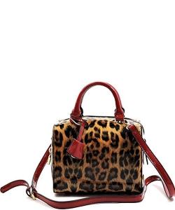Leopard Glossy Animal Printed Box Satchel Crossbody Bag L049