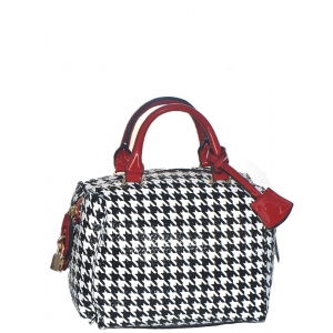 Patent Black and White Checkered Handbag H049 38835 Red