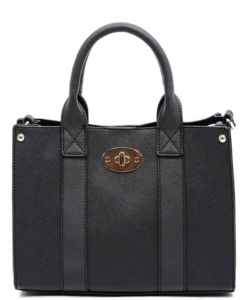 Two In one Faux Leather Handbag BT03 Black