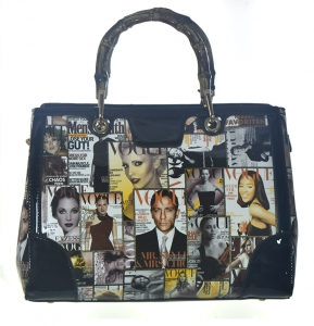 Fashion Magazine  Print Faux Leather Handbag L0361 38853