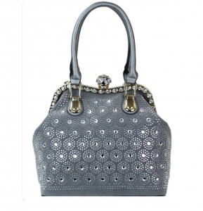 Elegant Rhinestones Fashion Handbag SN301 38894 Pewter