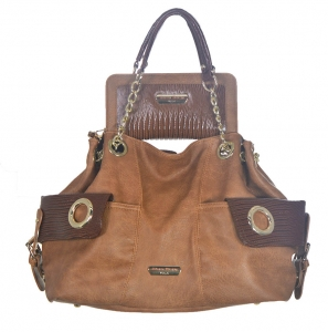 2 in 1 Faux Leather Tote Handbag BB1400 38908 Camel