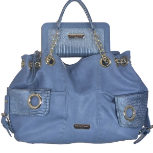 2 in 1 Faux Leather Tote Handbag BB1400 38916 silver blue