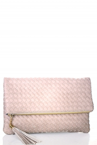 Woven Faux Leather Clutch A048M 39011 Brick
