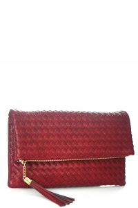 Woven Faux Leather Clutch A048M 39011 Dark Red
