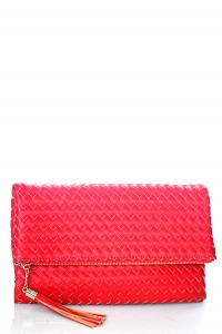 Woven Faux Leather Clutch A048M39011 Red