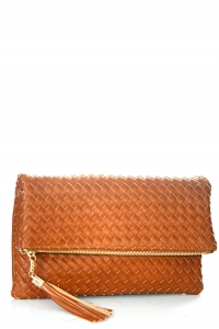 Woven Faux Leather Clutch A048M 39011 Saddle