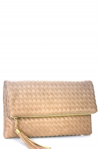 Woven Faux Leather Clutch A048M 39011 Stone