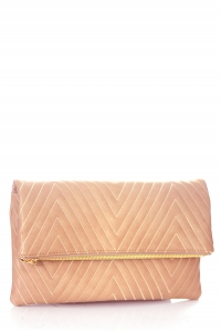 Stitched Deigned Faux Leather Clutch A048QA 39019  Stone