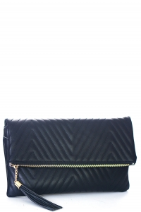 Stitched Deigned Faux Leather Clutch A048QA 39019 Black