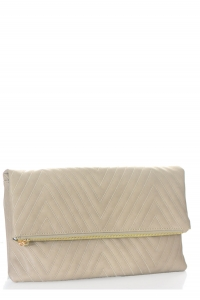 Stitched Deigned Faux Leather Clutch A048QA 39019 Brick