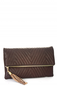 Stitched Faux Leather Clutch A048QA 39019 Brown