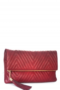Stitched Deigned Faux Leather Clutch A048QA 39019 Dark Red