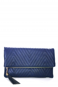 Stitched Deigned Faux Leather Clutch A048QA 39019 Navy