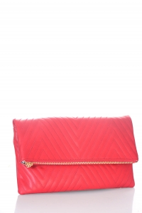 Stitched Deigned Faux Leather Clutch A048QA 39019 Red