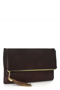 Faux Leather Clutch A048 39027 Brown