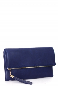Faux Leather Clutch A048 39027 Navy