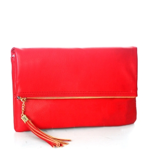 Faux Leather Clutch A048 39027 Red