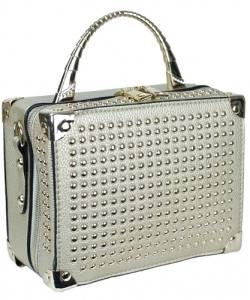Mini Studded Faux Leather Handbag W1421G 39071 Champagne
