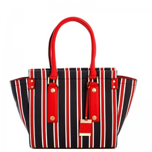 Vegan Striped Leather Fashion Handbag L0362 39127 Red