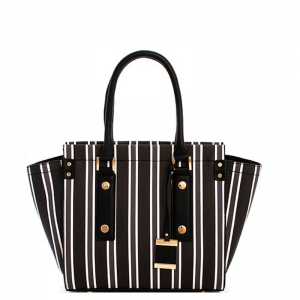 Vegan Striped Leather Fashion Handbag L0362 39127 Black
