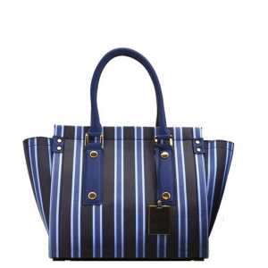 Vegan Striped Leather Fashion Handbag L0362 39127 Navy