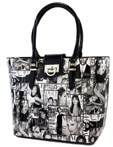 Magazine Print Patent Shoulder Design Handbag L0360 39130 black