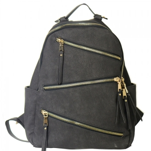 Faux Leather Backpack Zipper Bgs16327 39181 Black