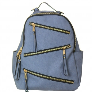 Faux Leather Backpack Zipper Bgs16327 39181 Blue