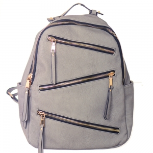 Faux Leather Backpack Zipper Bgs16327 39181 Taupe