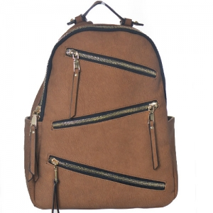Faux Leather Backpack Zipper Bgs16327 39181 Tan