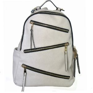 Faux Leather Backpack Zipper Bgs16327 39181 White