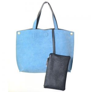 Reversible Soft Faux Leather Tote Bag BGA-4783 39187 Blue