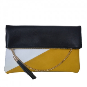 Designed Faux Leather Clutch Bgw-46647 39264 black/mustard