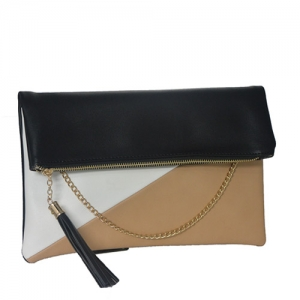 Designed Faux Leather Clutch Bgw-46647 39264 Black/Nude