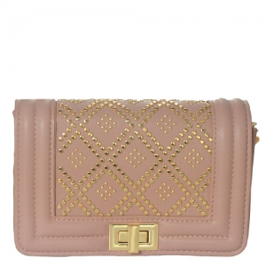 Studed Deigned Faux Leather Clutch BGT-33501 39272 Blush