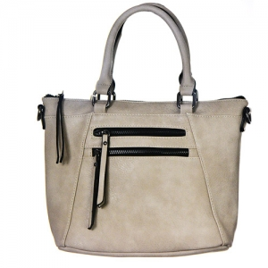 Faux Leather Totes Multi-Pocket Satchel BGW47461 39285 Light Grey